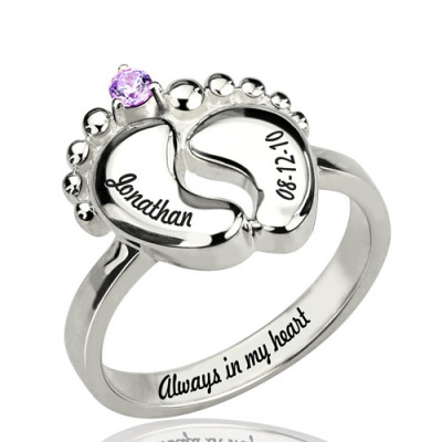 Engraved Baby Feet Ring with Birthstone Sterling Silver - The Name Jewellery™