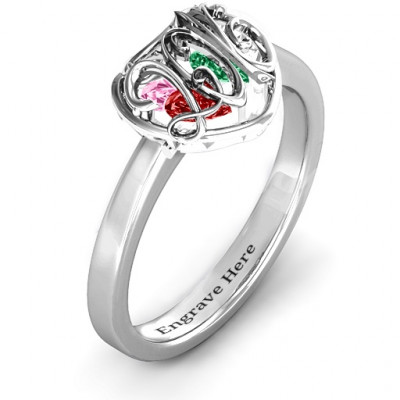 2016 Petite Caged Hearts Ring with Classic Band - The Name Jewellery™