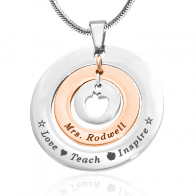 Personalised Circles of Love Necklace Teacher - TWO TONE - Rose Gold  Silver - The Name Jewellery™