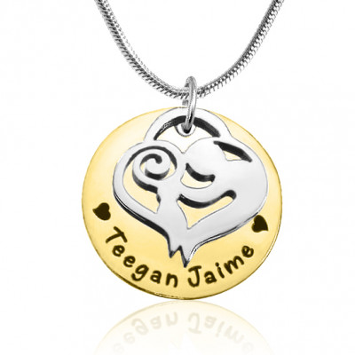 Personalised Mother's Disc Single Necklace - Two Tone - Gold  Silver - The Name Jewellery™