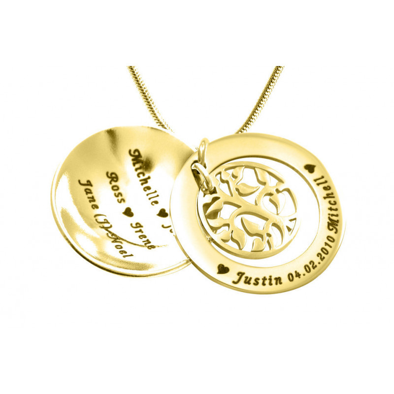 056ce31a4ebed Personalised My Family Tree Dome Necklace - Gold Plated
