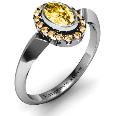 Royal  Bezel Set Oval Cluster Ring - The Name Jewellery™