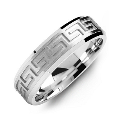 Greek Key Eternity Grooved Men's Ring - The Name Jewellery™