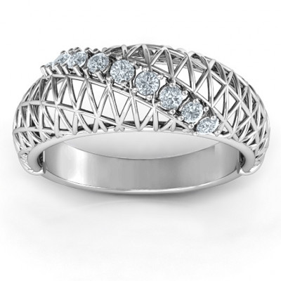 9 Stone Geometric Mesh Ring - The Name Jewellery™