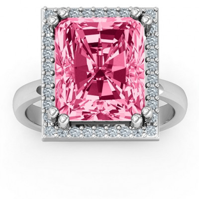 Emerald Cut Statement Ring with Halo - The Name Jewellery™