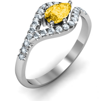 Golden Eye Pear Ring with Accent Infusion - The Name Jewellery™