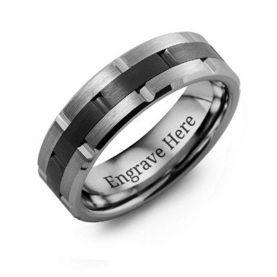 Men's Tungsten & Ceramic Grooved Brushed Ring - The Name Jewellery™