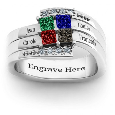 Quad Princess Stone Ring with Accents - The Name Jewellery™