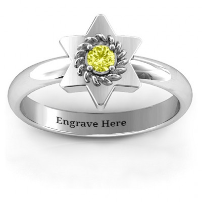 Star of David with Stone and Roping Ring - The Name Jewellery™