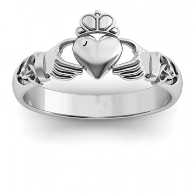 Sterling Silver Celtic Knotted Claddagh Ring - The Name Jewellery™
