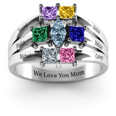 Sterling Silver Charlotte Centre Marquise and Princess Ring - The Name Jewellery™