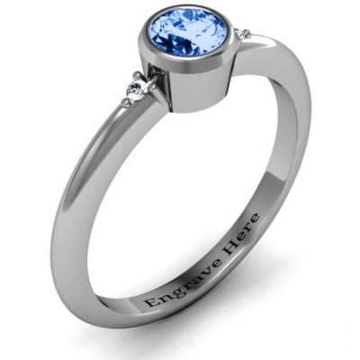 Sterling Silver Round Bezel Solitaire with Twin Accents Ring - The Name Jewellery™