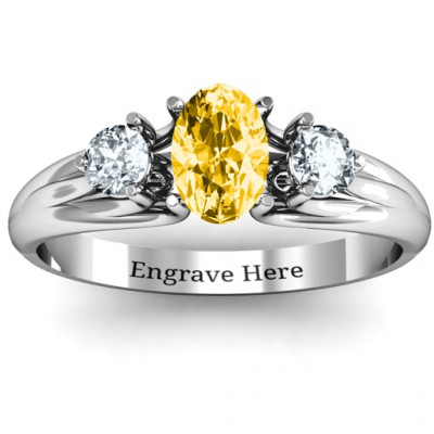 Three Stone Oval Centre Ring - The Name Jewellery™