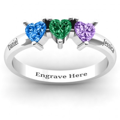 Triple Heart Stone Ring - The Name Jewellery™