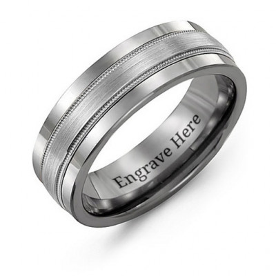 Tungsten Men's Grooved Centre Tungsten Band Ring - The Name Jewellery™