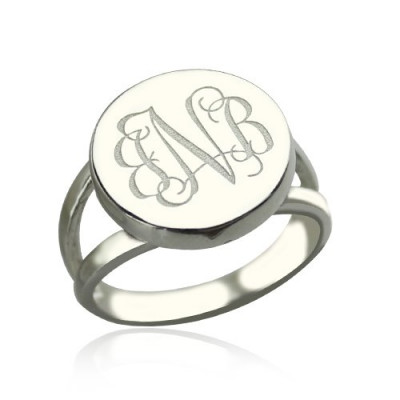 Sterling Silver Circle Monogram Signet Ring - The Name Jewellery™
