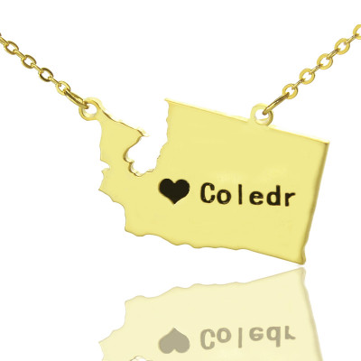 Washington State USA Map Necklace With Heart  Name Gold Plated - The Name Jewellery™