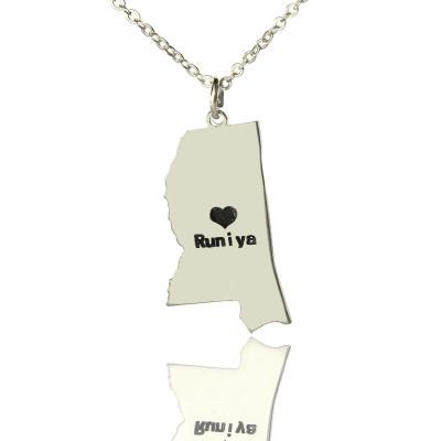 Mississippi State Shaped Necklaces With Heart  Name Silver - The Name Jewellery™