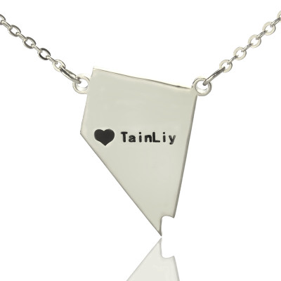Custom Nevada State Shaped Necklaces With Heart  Name Silver - The Name Jewellery™