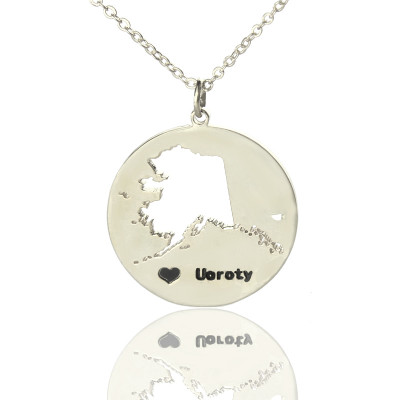 Custom Alaska Disc State Necklaces With Heart  Name Silver - The Name Jewellery™