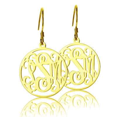 Circle Monogram Initial Earrings In Gold - The Name Jewellery™