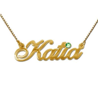 18ct Gold and Swarovski Crystal Name Pendant - The Name Jewellery™
