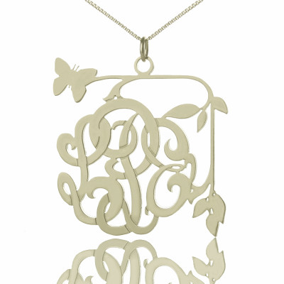 Custom Butterfly Script Monogram Necklace Sterling Silver - The Name Jewellery™
