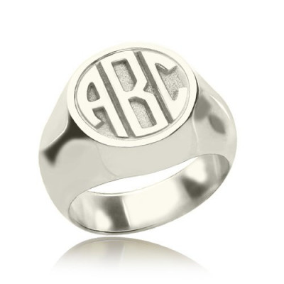 Personalised Signet Ring with Block Monogram Sterling Silver - The Name Jewellery™