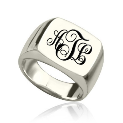 Personalised Signet Ring Sterling Silver with Monogram - The Name Jewellery™