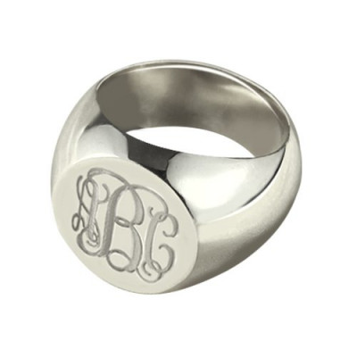 Signet Ring Sterling Silver Engraved Monogram - The Name Jewellery™