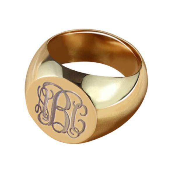 CIrcle Designs Signet Monogram Initial Ring Rose Gold - The Name Jewellery™