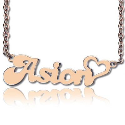 Personalised BANANA Font Heart Shape Name Necklace 18ct Rose Gold Plated - The Name Jewellery™