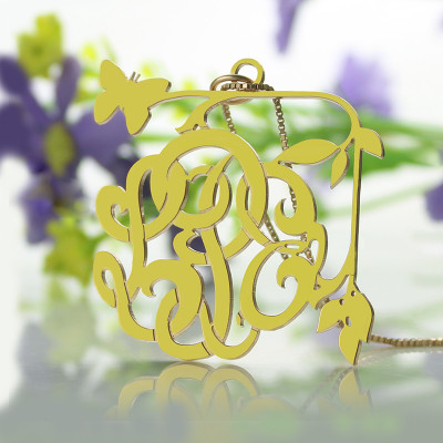 Vines  Butterfly Monogram Initial Necklace 18ct Gold Plated - The Name Jewellery™