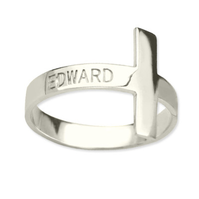 Engraved Name Cross Rings Sterling Silver - The Name Jewellery™