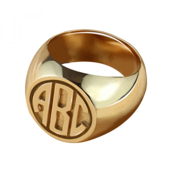 Circle Signet Ring with Block Monogram Rose Gold - The Name Jewellery™