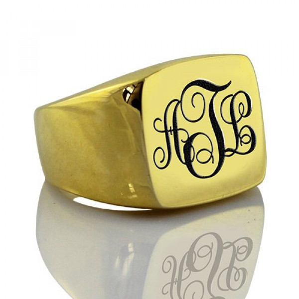 Custom 18ct Gold Plated Monogram Signet Ring - The Name Jewellery™