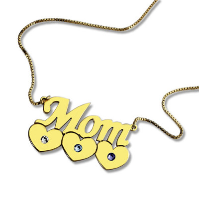 Moms Necklace With Children Birthstone In 18ct Gold Plated - The Name Jewellery™