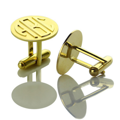 Cool Mens Cufflinks with Monogram Initial 18ct Gold Plated - The Name Jewellery™