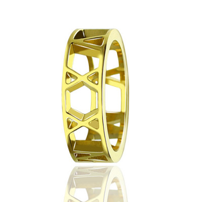 Roman Numeral Date Jewellery Rings 18ct Gold Plated - The Name Jewellery™