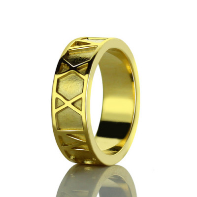 18ct Gold Plated Roman Numeral Date Rings - The Name Jewellery™