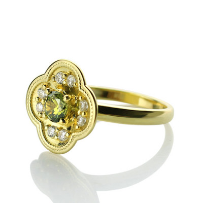 Blossoming Engagement Ring Engraved Birthstone 18ct Gold Plated - The Name Jewellery™