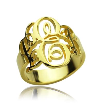 Interlocking Three Initials Monogram Ring 18ct Gold Plated - The Name Jewellery™