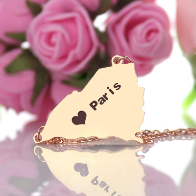 South Carolina State Shaped Necklaces With Heart  Name Rose Gold - The Name Jewellery™