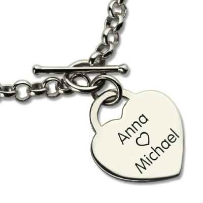 Classic Padlock Heart Toggle Bracelet with Free Filigree Keepsake Box - The Name Jewellery™