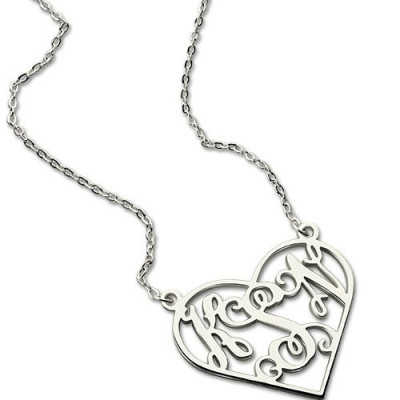 Heart Monogram Necklace Sterling Silver - The Name Jewellery™