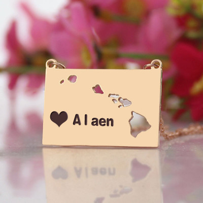 Custom Hawaii State Shaped Necklaces With Heart  Name Rose Gold - The Name Jewellery™