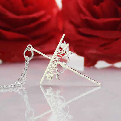 Silver Cross Name Necklaces with Rose - The Name Jewellery™