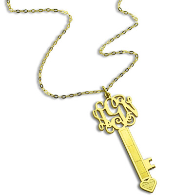 18ct Gold Plated Key Monogram Initial Necklace - The Name Jewellery™