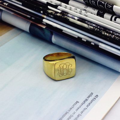 18ct Gold Plated Fashion Monogram Initial Ring - The Name Jewellery™