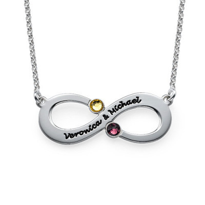 Couple's Infinity Necklace with Birthstones - The Name Jewellery™